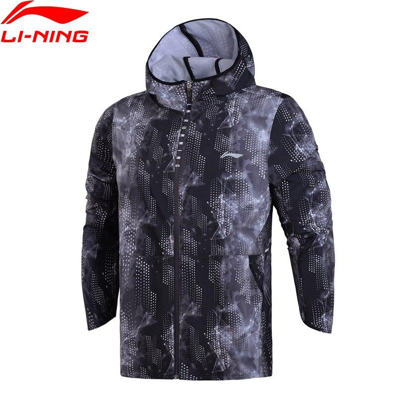 Li Ning Men Running Windbreaker 88 Polyester 12 Spandex LiNing Regular Fit Comfort Sports Coat AFDN039