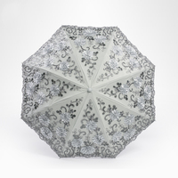 Luxury Princess Creative Folding Sun Lace Umbrella Rain Women Embroidery Fabric Flower Arched Anti UV Parasol