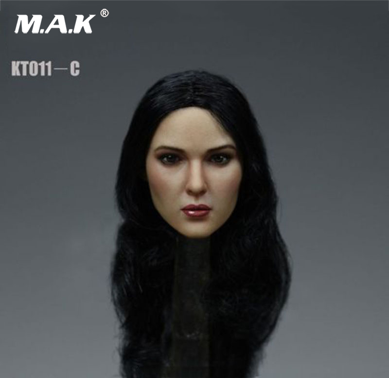 1:6 Scale KT011C Asia Girl Female Head Sculpt Black Curls Head for 12 inches HT PH Action Figure Body custom 1 6 scale agent girl doll head f001 carving sculpt model for 12 inch ht phicen body action figure