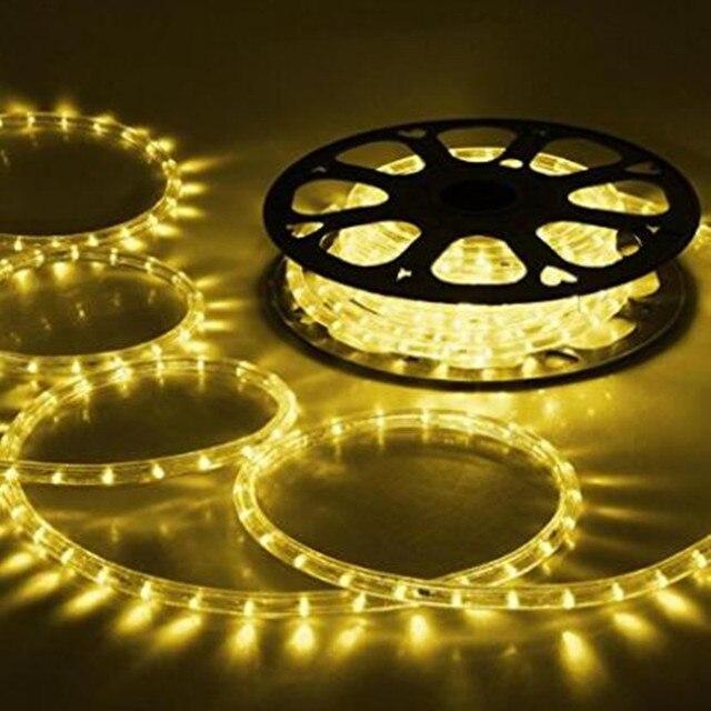 Светодиодная лента AC220 в, IP65 Водонепроницаемый гибкий веревочный светильник 5050SMD теплый белый/синий/зеленый/Yello с вилкой питания, декоративный светильник ing