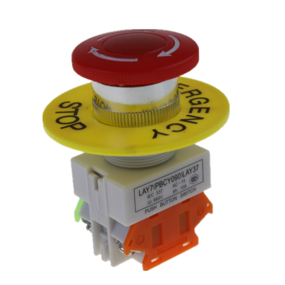 1pcs 1NO 1NC DPST Emergency Stop Push Button Switch AC 660V 10A Switch Equipment Lift Elevator Latching Self Lock Red Mushroom c 1pc new emergency stop push button switch self locking red mushroom switch 660v 10a
