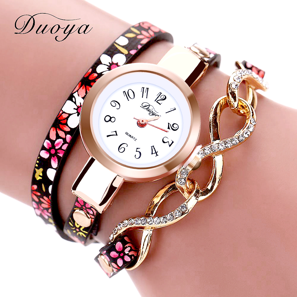 Duoya Fashion Women Brand Rose Dress Leather Gold Bracelet Wristwatch Flowers Casual Ladies Women Bracelet Quartz Wrist Watches duoya fashion luxury women gold watches casual bracelet wristwatch fabric rhinestone strap quartz ladies wrist watch clock