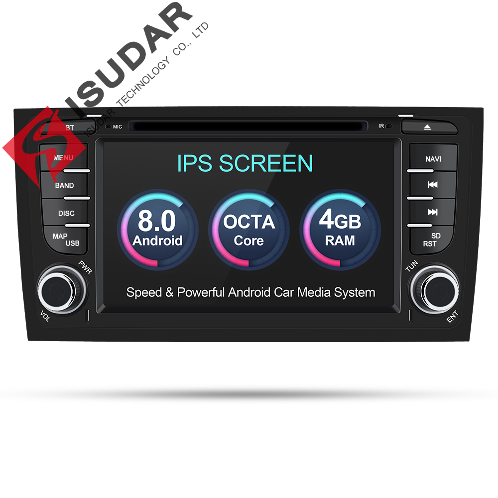 Isudar Auto Multimedia Player Auto Radio A Due Din Android 8.0 Sistema Stereo Per Audi/A6/S6/RS6 GPS RAM 4 gb DSP USB DVR OBD2 FM