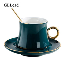 GLLead European Style Ceramic Coffee Cups Set Creative Golden Edge Tea Cup and Saucer Fashion Flower Teacup Porcelain