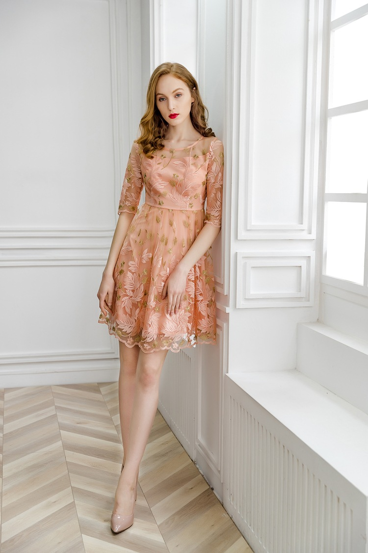 Office Work Embroidery Dress 2019 New High Quality Spring Summer
