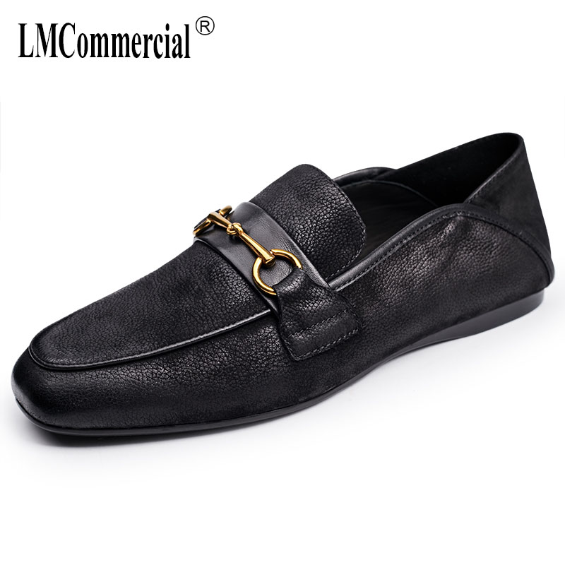spring and autumn summer British retro all-match cowhide breathable sneaker fashion men's Doug shoes loafer shoes men Driving spring and autumn summer british retro men s lazy doug shoes loafer shoes men driving shoes male leisure driving casual cowhide