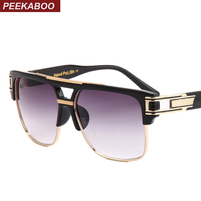 Top quality men sunglasses brand design big square semi rimless sun glasses
