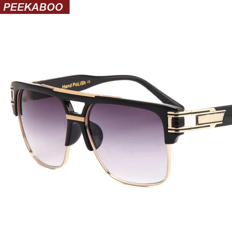 Peekaboo de calidad superior los hombres gafas de sol 2018 diseño de marca de la Gran Plaza semi montura gafas de sol hombres de lujo unisex UV occhiali da único