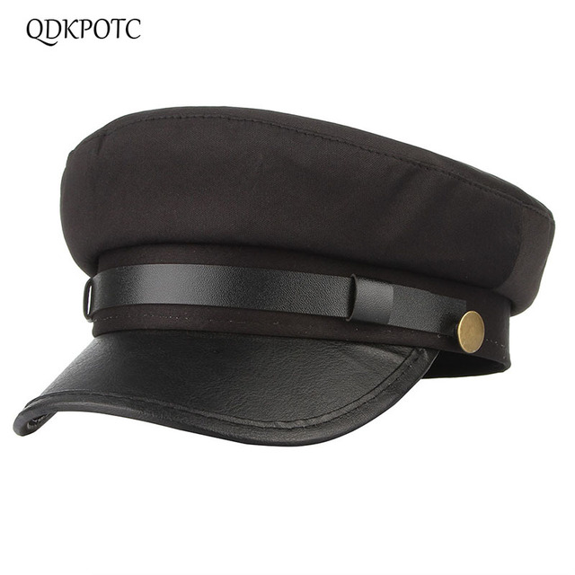 b8fa03cf6ae QDKPOTC 2018 Autumn Winter Men Women Military Hats Cotton Sailor Style Navy  Caps Patchwork PU Brim