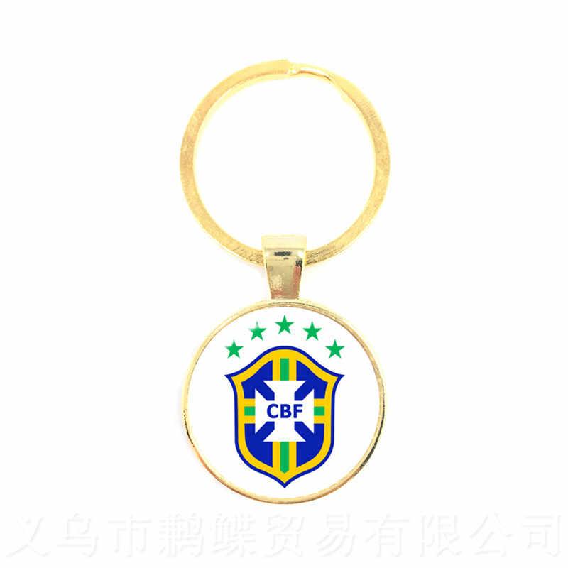 Ventole di calcio di Vetro Del Pendente Portachiavi Argentina/Egitto/Australia/Panama/Brasile Nazionale di Calcio di Marchio del Distintivo Cupola di Vetro portachiavi