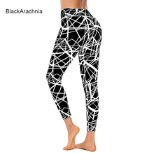 BlackArachnia Women Leggings Gothic Line Printed Jeggings Leggins Gym Sexy Yoga Pants Fitness Sportswear