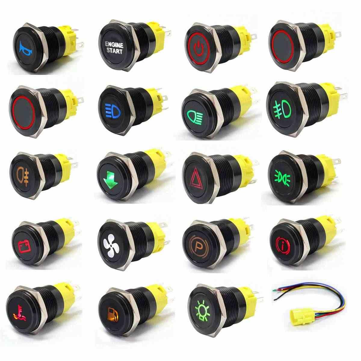 12V 19mm Led-anzeige Licht Lampe Dash Panel Warnung Licht Metall Push Button Schalter Momentary Rast auf off für auto yacht schiff