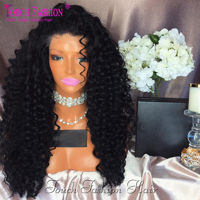 Best Brazilian Deep Curly Full Lace Human Hair Wigs Virgin Glueless Curly Lace Front Wig With Baby Hair Natural Black Color