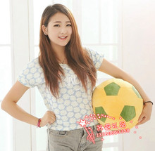 middle plush lovely football toy soft yellow&green football doll gift about 30cm 472