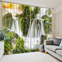 3D Curtain Printing Blockout Polyester Chinese Sun Photo Drapes Fabric For Room Bedroom Window Watercolor Treatment Drapes Oct25