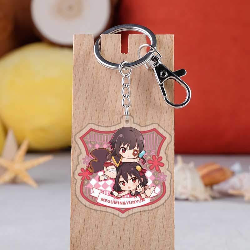 Anime Kono Subarashii Sekai Ni Syukufuku Wo Keyrings Japanese Cartoon Figure Aqua Car Key Holder Chain Pendants Keyrings Jewelry