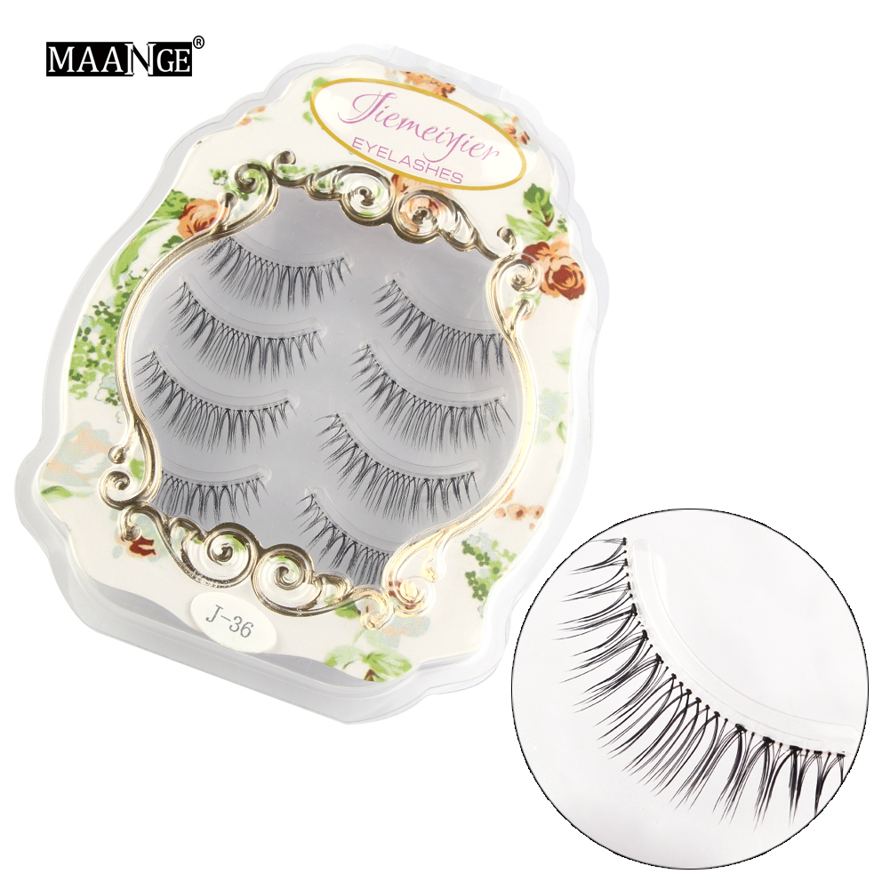 4 Pairs in Cute Box Natural False Eyelash 3D Eyelash Extensions Eyelash Perm Kit Wimper Extension Eyelashes Strips Thick Cross