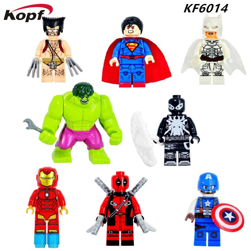 Super Heroes Iron Man Spiderman Spider-Man Wolverine Superman Captain America Bricks Building Blocks Children Gift Toys KF6014 building blocks super heroes back to the future doc brown and marty mcfly with skateboard wolverine toys for children gift kf197
