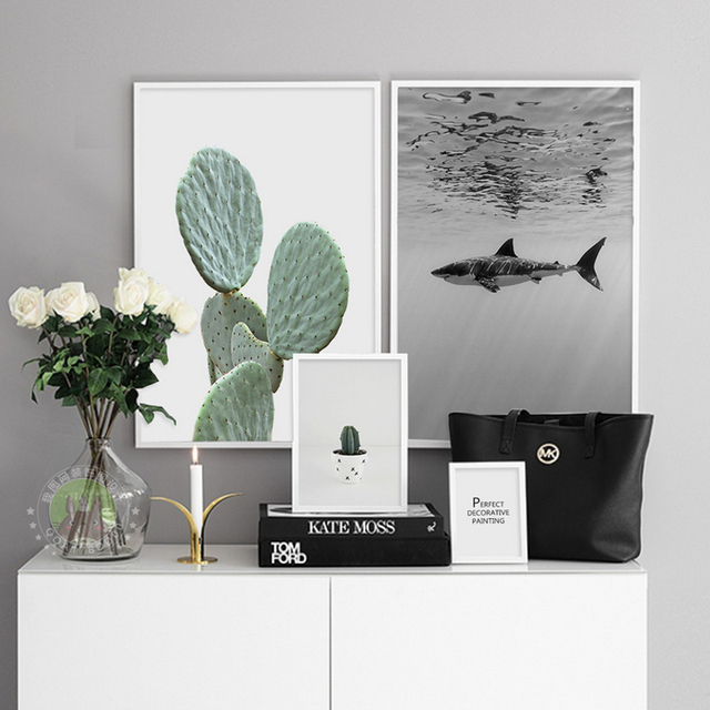 Shark Cactus Canvas Paintings Abstract Nordic Minimalist Wall Art Pictures  Poster Print Pop For Living Room