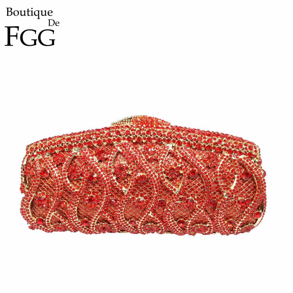 Boutique De FGG Elegant Red Crystal Women Evening Clutch Purse Hollow Out Wedding Bag Metal Clutches Bridal Rhinestones Handbag atlantic 50756 41 41