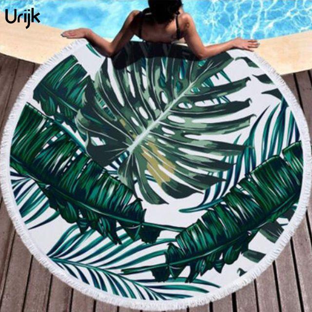 Urijk Rotonda del Tessuto Asciugamani Da Bagno Per Soggiorno Stampato Piante Tropicali Spiaggia Asciugamano In Microfibra Boho Beach Asciugamani Decorativo Per La Casa