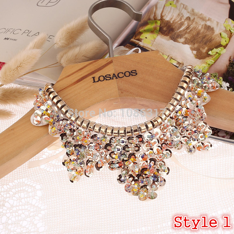 Hot sell Fashion women crystal multicolor flowers beads gold chain Ribbon Fake collar Choker Necklaces 12 Styles U choose
