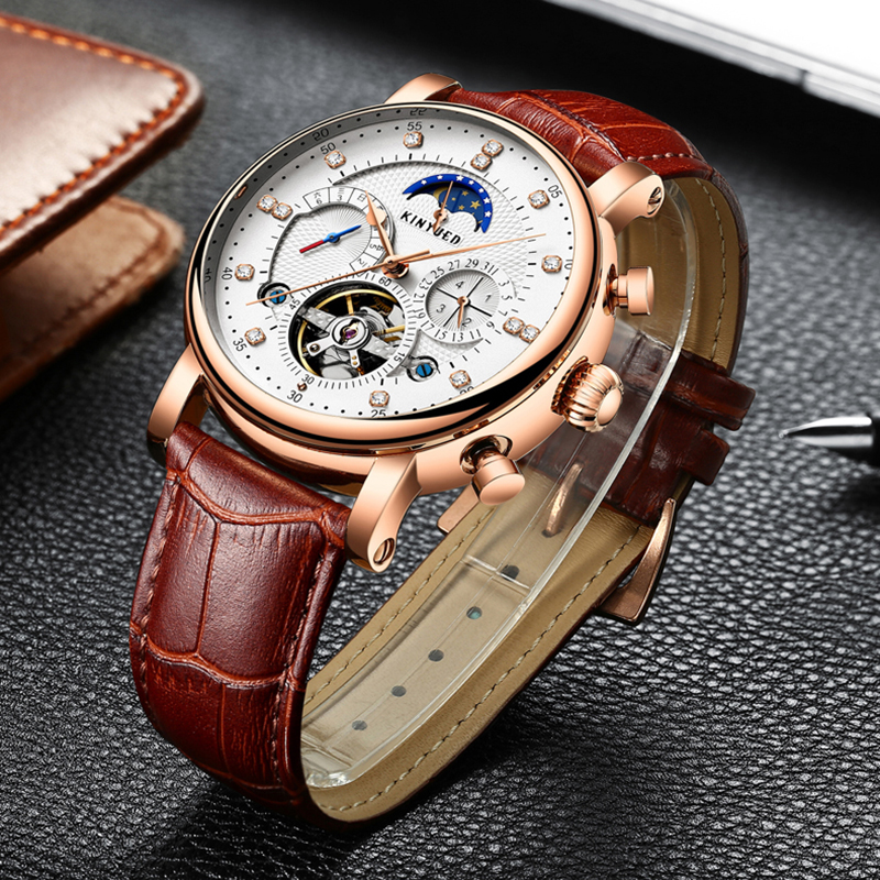 KINYUED 2018 Mechanical Watch Men Skeleton Luxury Brand Automatic Watches Mens Moon Phase Calendar Sports Rose Gold Male Clock automatic watch men rose gold mens watches top luxury brand read mechanical leather wristwatches skeleton male clock man relogio