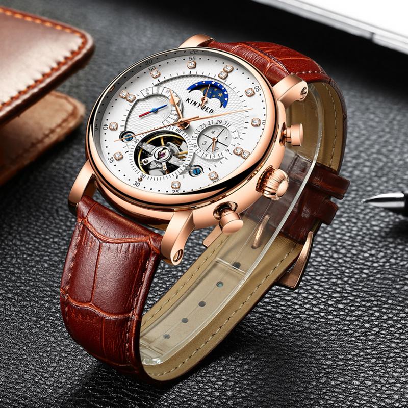 9604fad9ebc KINYUED Marca de Luxo Homens Relógio Automático Calendário de Fases Da Lua  2018 Esqueleto Relógios Mecânicos Esportes Dos Homens Subiu Relógio de Ouro  ...