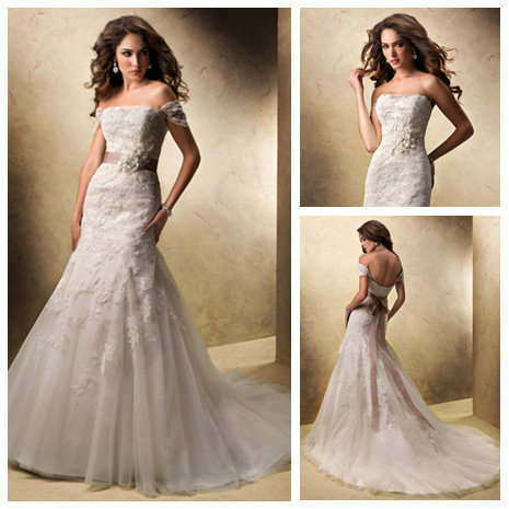 Mermaid Style Feminine Illusion Neckline Detachable Cap Sleeves Desginer Lace Wedding Gowns