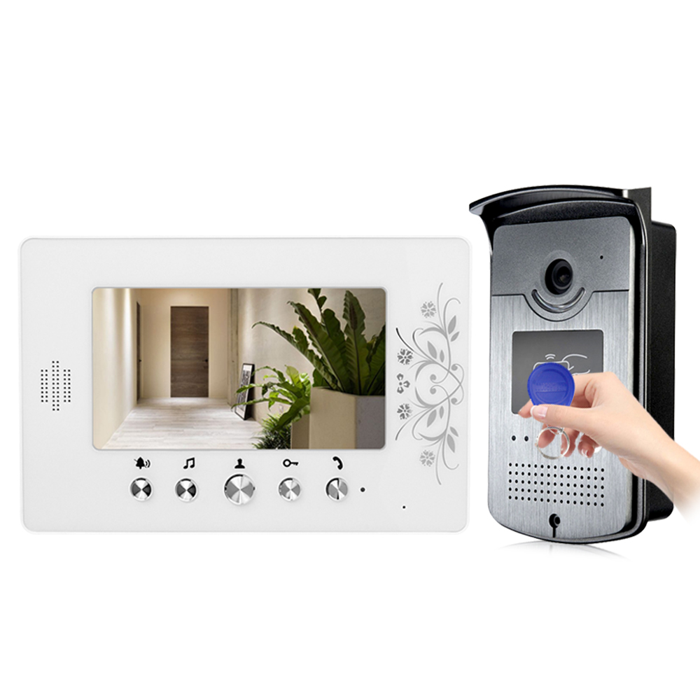 7'' TFT LCD Color Door Phone Video Doorbell Intercom System With Outdoor RFID Access Doorbell Camera +2 125KHz Management cards video phone intercom with door rfid electric lock intercom camera video doorbell for 6 apartments 7inch color tft lcd monitor