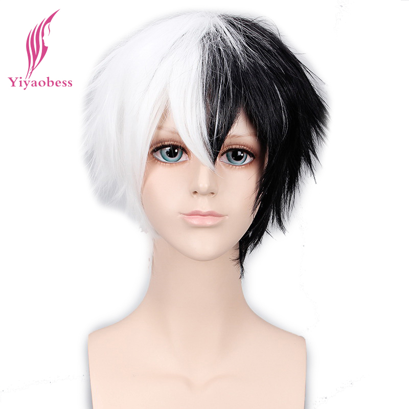 Yiyaobess 6inch Synthetic Hair Monokuma Half White Black Wig Bangs Cosplay For Man ...