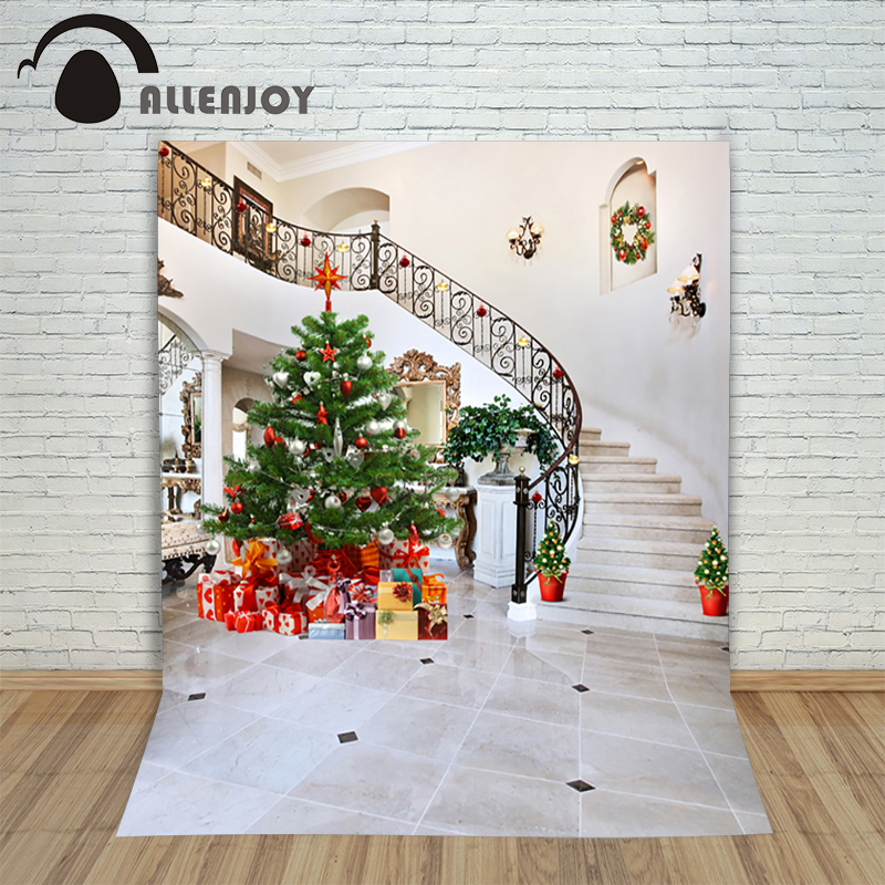 Christmas photography backdrops 5x7ft Xmas Tree Star Wreath Gift Lamp baby photocall background for photographic studio