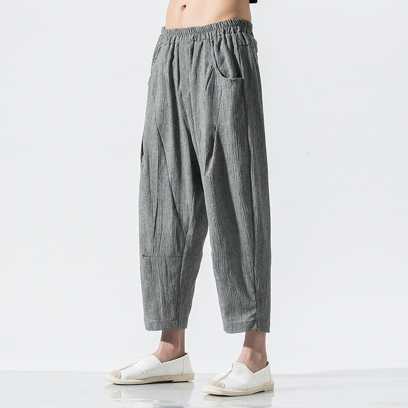 Linen Trousers Streetwear Sweatpants Joggers-Pants Elastic-Waist White Men's Straight