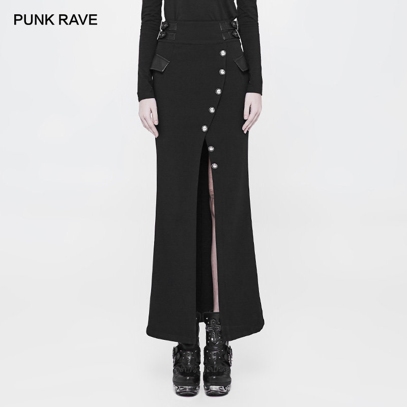 PUNK RAVE Military Uniform Fishtail Black Women s Skirt Party Casual Retro Women Twill Long Half