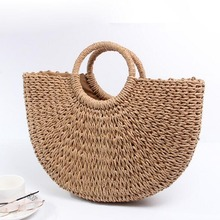 New 2019 Summer Women Handbags Beach Bag Hand Woven Straw Female shoulder Bags Ladie Casual Tote Large Capacity Shopping цена 2017