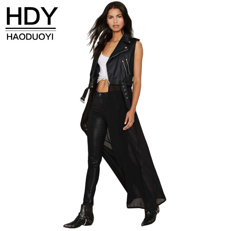 NEW FASHIONS  HDY Haoduoyi 2017 Autumn Fashion Women Solid PU Patchwork Chiffon Sleeveless Long Coat Jacket Zipper Casual Outwear