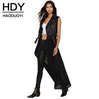 Haoduoyi Womens Solid PU Patchwork Chiffon Sleeveless Long Coat Jacket Zipper Casual Slim Outwear Tops Tees