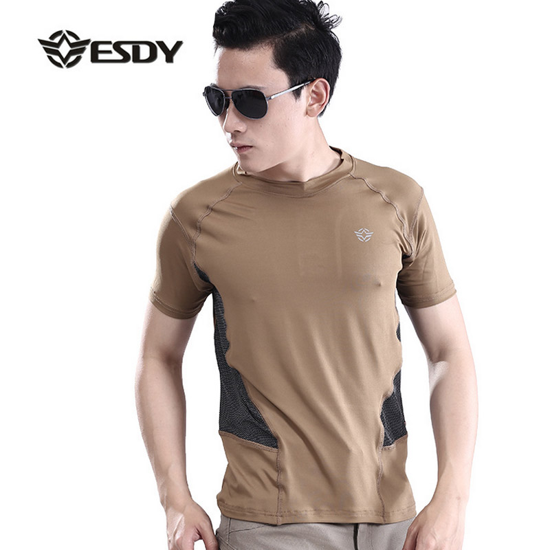 Hot 2017 Outdoor ESDY Camping Hiking Short Sleeve Patchwork Cargo Tactical hunting Army Military Soldier quick dry Tees Men