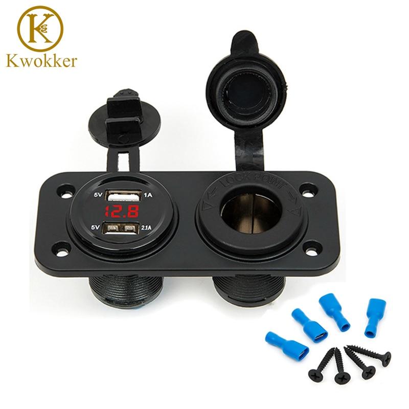 12V-24V dvojni USB vtič za motorno kolo elektronski avtomobilski - Avtodeli