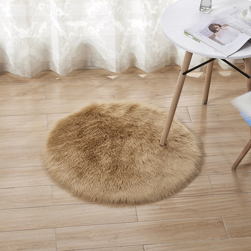 Artificial Wool Hairy Rug White Round Fur Carpets For Bedroom Kids Room Floor Mat Office Chair Tapete Long Fluffy Faux Fur Rugs