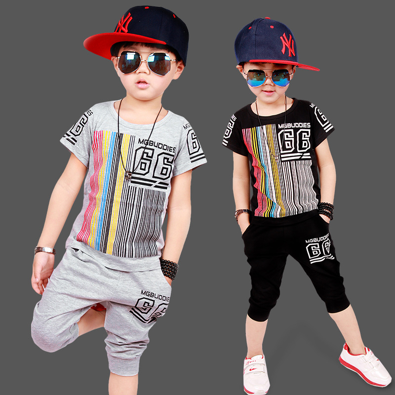 Magituby Fashion Boys Clothes Children Baby Clothing Sets Striped Shirt and Pants Kids Summer Hip Hop Style Free Ship C001 family fashion summer tops 2015 clothers short sleeve t shirt stripe navy style shirt clothes for mother dad and children