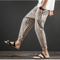 2018 Summer New Stripes Men's Cotton Linen Harem Loose Pants Large Size Casual Ankle Length Pencil Trousers Lightweight M 5XL