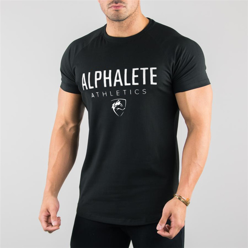 ALPHALETE Gyms Summer Fashion Men's T Shirt Casual Active Short Sleeve T Shirt Mens Clothing Trend Casual Slim Fit Fitness Top