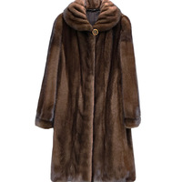 High imitation mink coat women's overall length 2018 new fashion elegant women's middle aged mink fur coat large size S 5XL