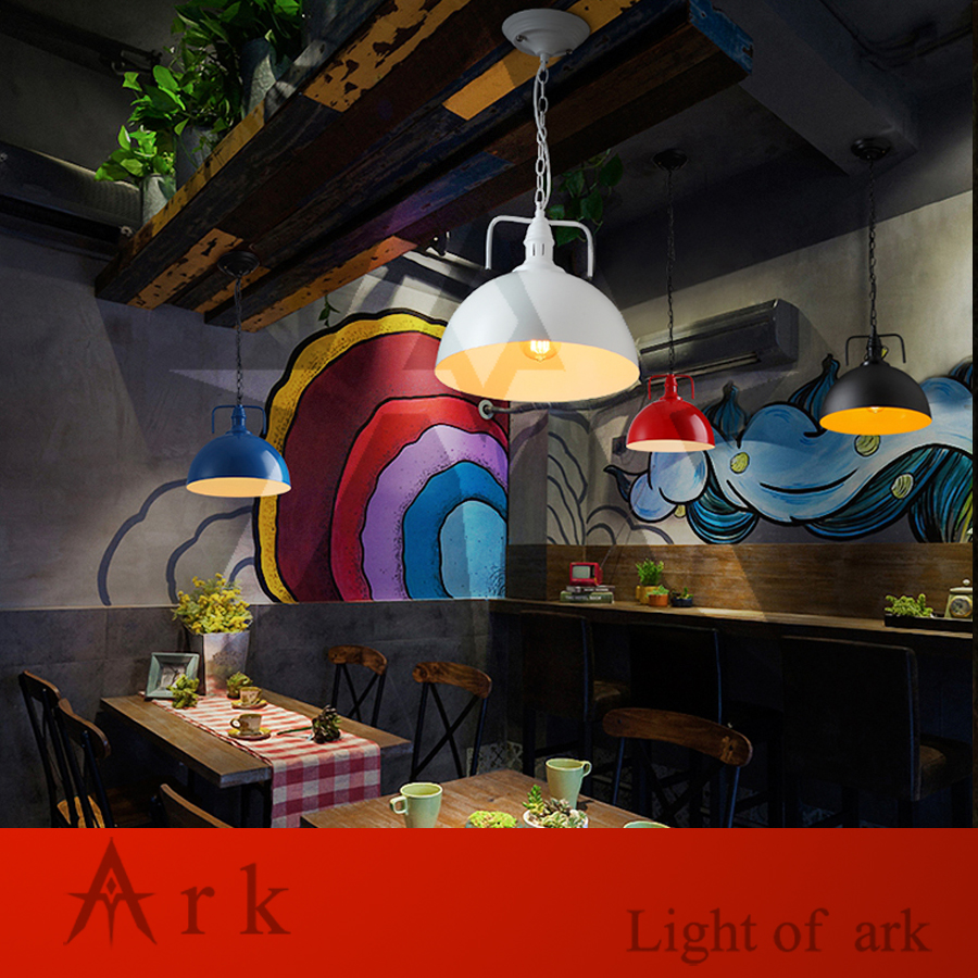 ARK LIGHT Loft Vintage dia 30cm colorful Personalized Bar Lighting Industrial Vintage iron pendant lamp for coffee house