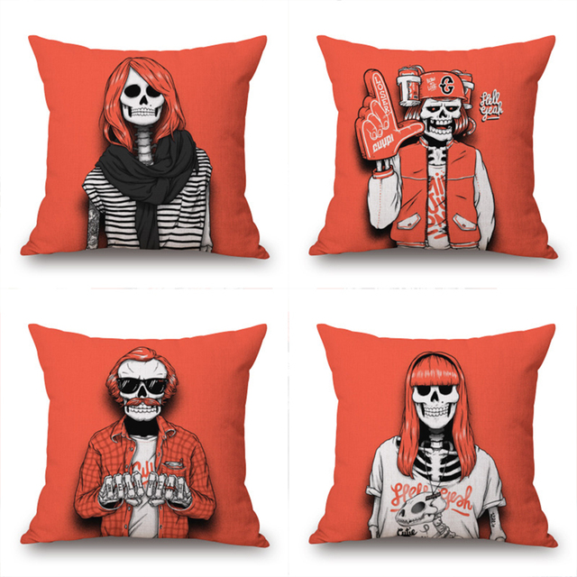 Cool Halloween Fashionable Skeletons Throw Pillow Cover Decorative Massager Pillows Case Zip Diy Home Decor Gift18X18 In Decorative Pillows From Home Inzonedesignstudio Interior Chair Design Inzonedesignstudiocom
