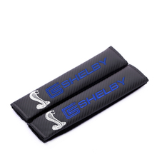 Embroidery for Shelby cobra emblem Car carbon fiber style seat belt cover shoulder pad for Ford  focus 2 3 Mustang accessories