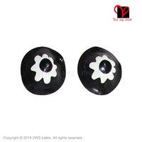 Sexy latex Pezones pasties flor blanco y negro ronda goma Pedales Gummi burlesque accesorios cubierta lingerie escudos