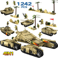 1242pcs 4 In 1 Army Model Tanks LegoINGLy WW2 Military Assemblage Building Blocks Set Weapon Tank DIY Bricks Toys For Boys
