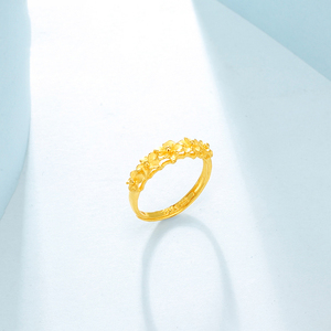 Image 4 - JMZB anillo de oro puro de 24K para mujer, sortijas de oro sólido auténtico AU 999, flores hermosas de lujo, joyería clásica bonito, producto en oferta, novedad de 2020